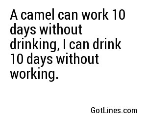 A camel can work 10 days without drinking, I can drink 10 days without working.