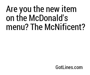 Are you the new item on the McDonald's menu? The McNificent?