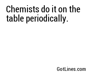 Chemists do it on the table periodically.