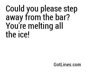 Could you please step away from the bar? You're melting all the ice!