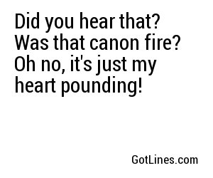 Did you hear that? Was that canon fire? Oh no, it's just my heart pounding!
