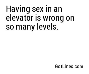 Having sex in an elevator is wrong on so many levels.