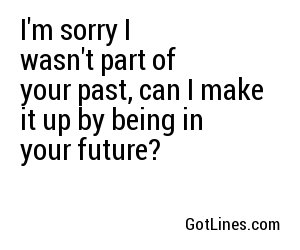 I'm sorry I wasn't part of your past, can I make it up by being in your future?