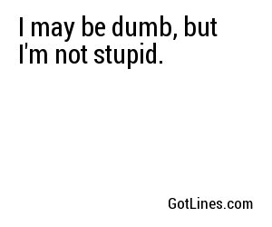 I may be dumb, but I'm not stupid.