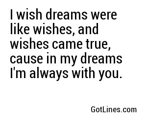 I wish dreams were like wishes, and wishes came true, cause in my dreams I'm always with you.