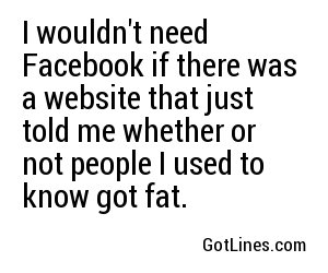 I wouldn't need Facebook if there was a website that just told me whether or not people I used to know got fat.