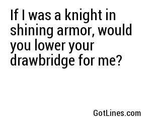 If I was a knight in shining armor, would you lower your drawbridge for me?