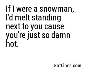 If I were a snowman, I'd melt standing next to you cause you're just so damn hot.