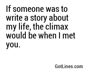 If someone was to write a story about my life, the climax would be when I met you.