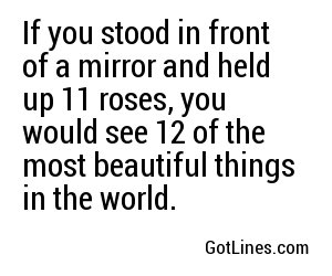 If you stood in front of a mirror and held up 11 roses, you would see 12 of the most beautiful things in the world.