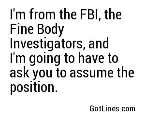 I'm from the FBI, the Fine Body Investigators, and I'm going to have to ask you to assume the position.