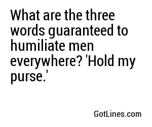 What are the three words guaranteed to humiliate men everywhere? 'Hold my purse.'
