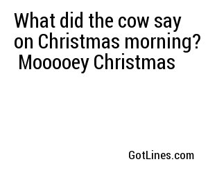 What did the cow say on Christmas morning?  Mooooey Christmas