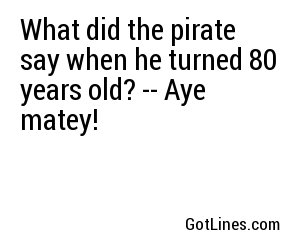What did the pirate say when he turned 80? Aye matey.