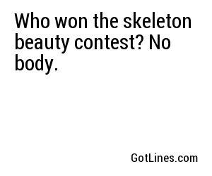 Skeleton contest who beauty won the Who won