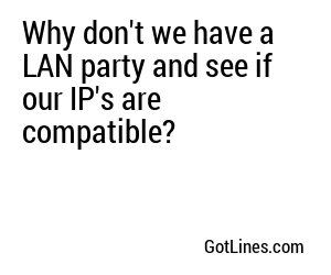 Why don't we have a LAN party and see if our IP's are compatible?