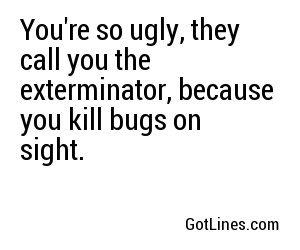 Youre so ugly, they call you the exterminator,