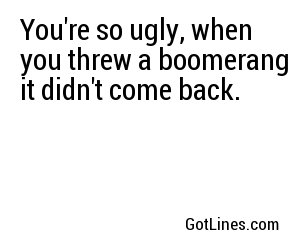 You're so ugly, when you threw a boomerang it didn't come back.