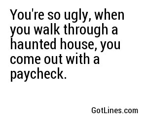 You're so ugly, when you walk through a haunted house, you come out with a paycheck.
